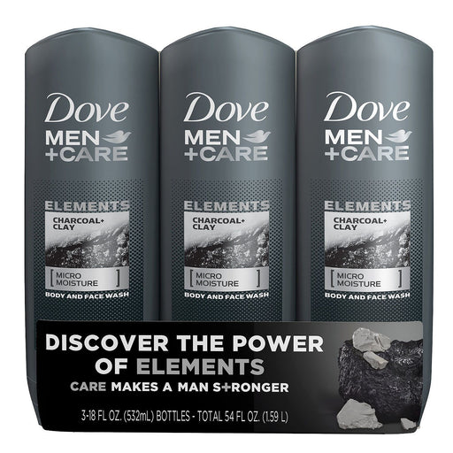 Dove Men+Care Body Wash, Charcoal+Clay (18 fl. oz., 3 pk.) - EZneeds
