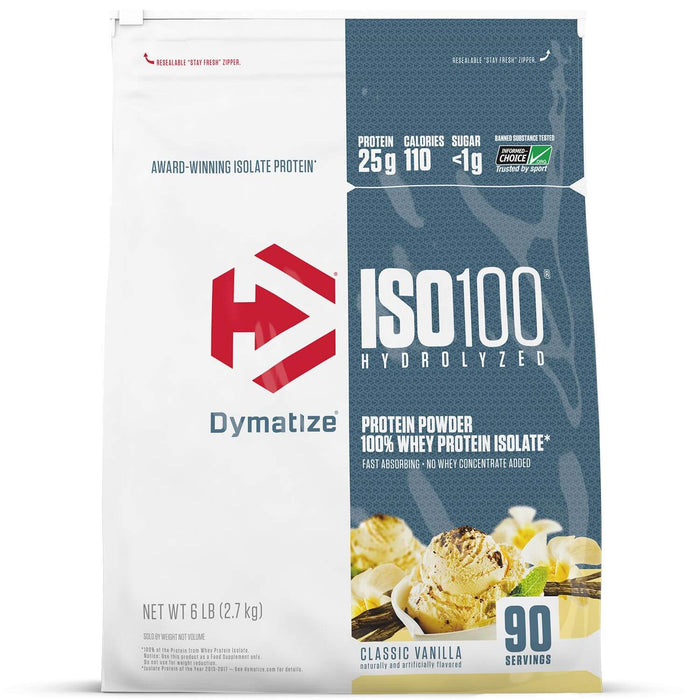 Dymatize ISO100 Hydrolyzed 100% Whey Protein Isolate Powder, Classic Vanilla (6.4 lb., 90 servings)