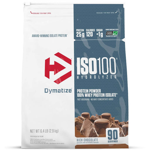 Dymatize ISO100 Hydrolyzed 100% Whey Protein Isolate Powder, Rich Chocolate (6.4 lb., 90 servings)