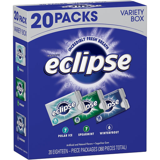 Eclipse Sugar-free Gum Variety Box (18 pieces, 20 pk.)