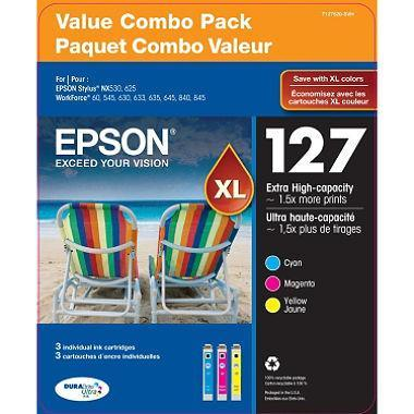 Epson DuraBrite 127XL Ink Cartridges (1 Cyan, 1 Magenta, 1 Yellow)