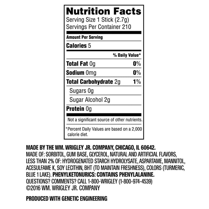 Extra Spearmint Sugar-free Gum (35 ct., 6 pks.) Nutrition Facts