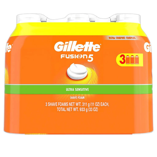 Gillette Fusion5 Ultra Sensitive Shave Foam (11 oz., 3 pk.)