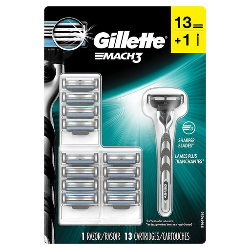 Gillette Mach3 Men's Razor (Handle + 13 Blade Refills)