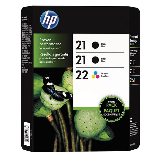 HP 21/21/22 Original Ink Cartridge (Black/Tri-Color, 3 pk., 190 Page Yield)