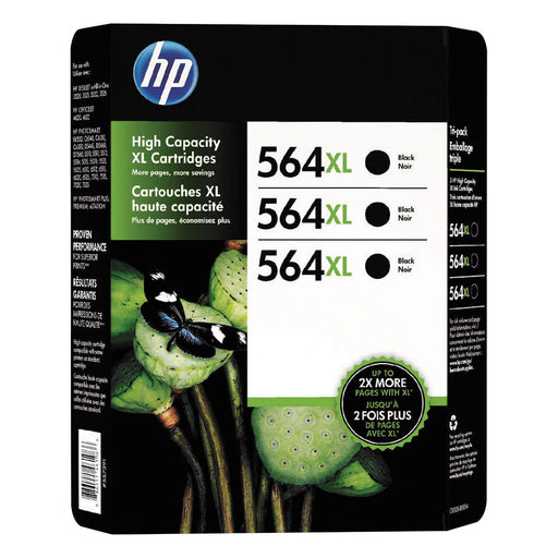 HP 564XL High Yield Original Ink Cartridge (Black, 3 pk., 550 Page Yield)