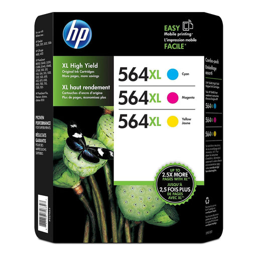 HP 564XL High Yield Original Ink Cartridge (1 Cyan, 1 Magenta, 1 Yellow, 3 pk., 750 Page Yield)