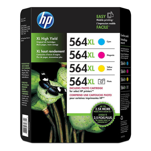 HP 564XL High Yield Original Ink (1 Cyan, 1 Magenta, 1 Yellow, 1 Photo Cartridges, 4 pk., 750 Page Yield)