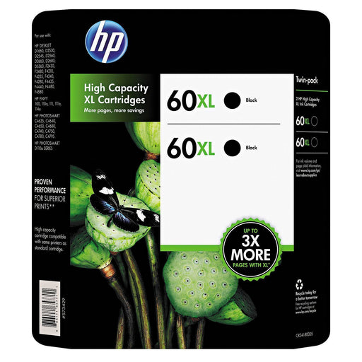 HP 60XL High Yield Original Ink Cartridges (Black, 2 pk.)
