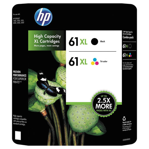HP 61XL High Yield Original Ink Cartridge (Black/Tri-Color, 2 pk., 480 Page Yield)