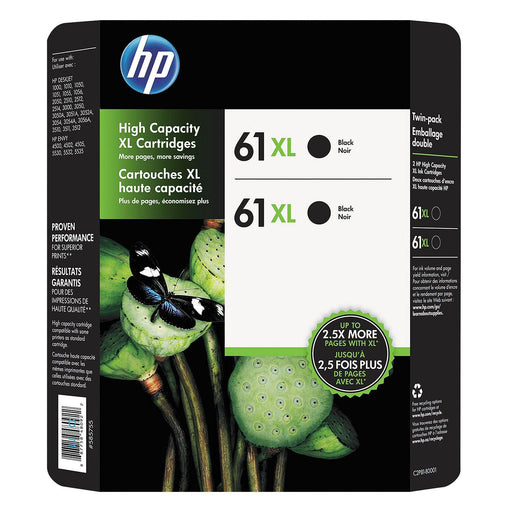 HP 61XL High Yield Original Ink Cartridge (Black, 2 pk., 480 Page Yield)