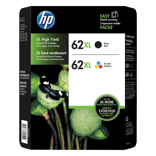 HP 62 XL, High-Yield Ink (Black/Tri-Color, 2 pk., 600, 415 Page-Yield)