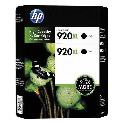 HP 920XL High Yield Original Ink Cartridge (Black, 2 pk., 1,200 Page Yield)