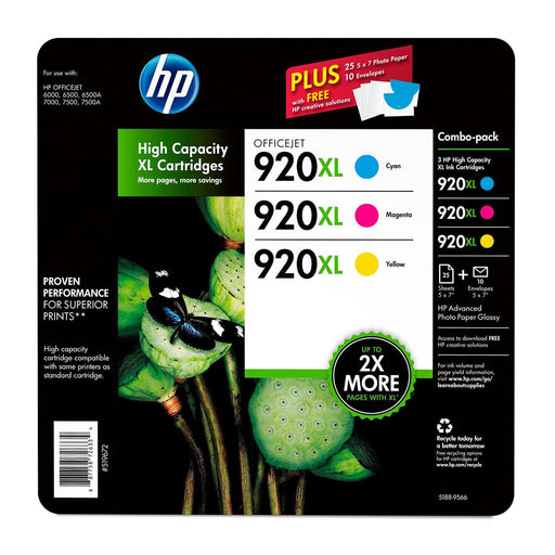 HP 920XL High Yield Original Ink Cartridge (1 Cyan, 1 Magenta, 1 Yellow, 3 pk., 700 Page Yield)