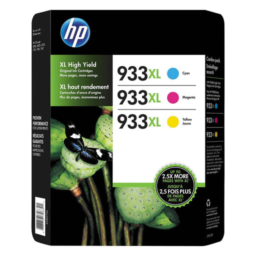 HP 933XL D8J65BN High Yield Original Ink (1 XL Cyan, 1 XL Magenta, 1 XL Yellow)
