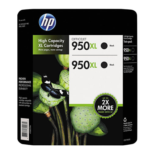 HP 950XL High Yield Original Ink Cartridge (Black, 2 pk., 2,300 Page Yield)