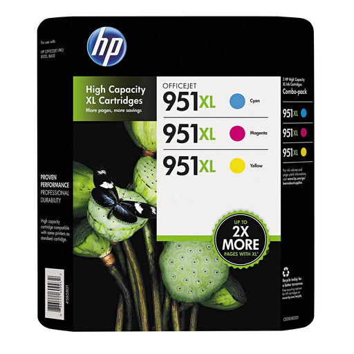 HP 951XL High Yield Original Ink Cartridge (1 Cyan, 1 Magenta, 1 Yellow, 3 pk., 1,500 Page Yield)