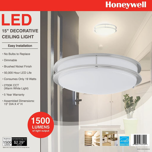 "Honeywell 15"" LED Decorative Ceiling Light (Brushed Nickel)"