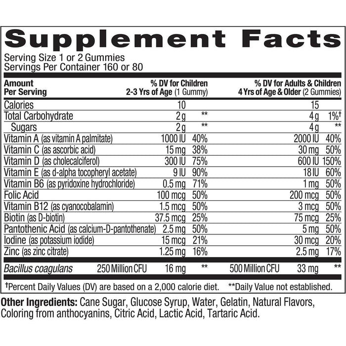 Lil' Ollys Kids' Multi + Probiotic Yum Berry Punch Vitamin Gummies (160 ct.) Supplement Facts - EZneeds