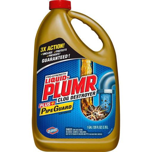 Liquid-Plumr Pro-Strength Full Clog Destroyer Plus PipeGuard (128 oz. bottle)