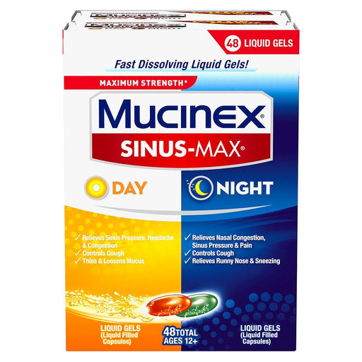 Mucinex Sinus-Max Liquid Gels for Day & Night, Congestion & Cough (48 ct.)