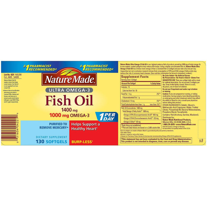 Nature Made 1400mg Ultra Omega-3 Fish Oil Softgels (130 ct.)