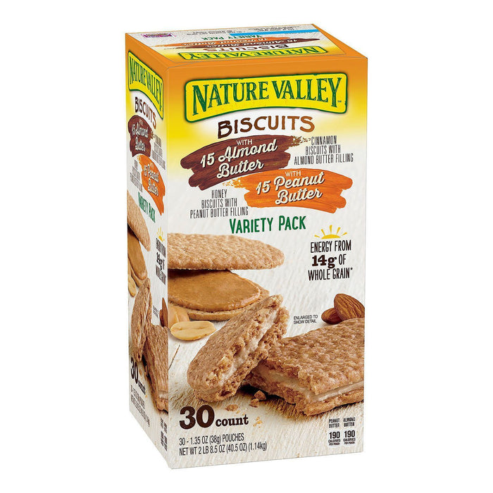 Nature Valley Biscuit Sandwich Variety Pack, Almond Butter & Peanut Butter (1.35 oz ea., 30 ct.)