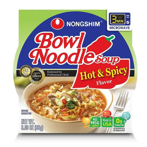 Nongshim Bowl Noodle Soup, Hot & Spicy (3.03 oz. bowl, 18 ct.) - EZneeds