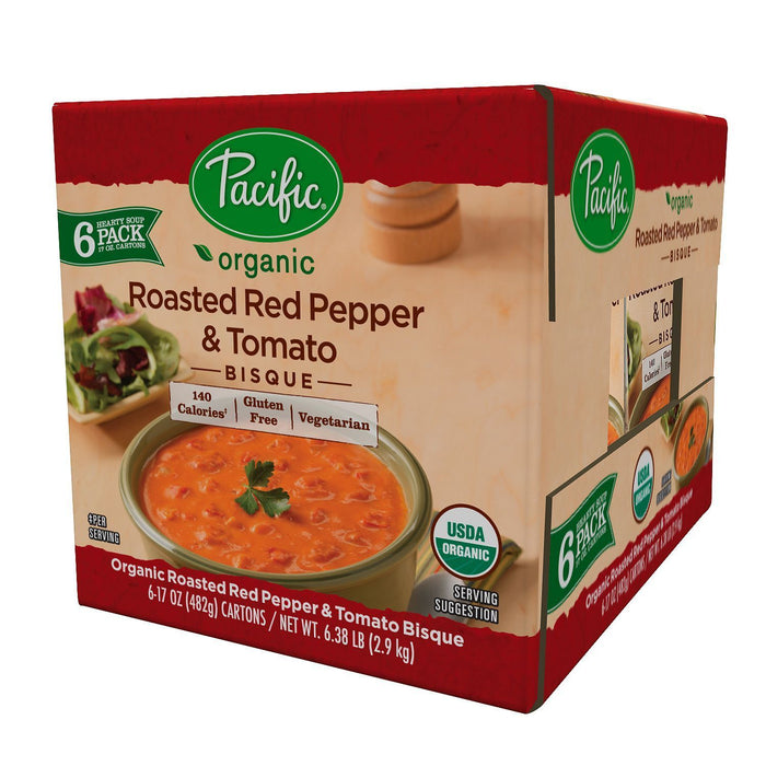 Pacific Roasted Red Pepper & Tomato Bisque (17 oz. carton, 6 ct.)