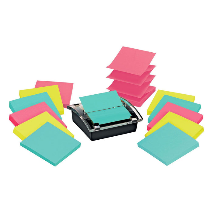 Post-It Note Dispenser w/ two 6 Pk's of Super Sticky Post-it Pop-up Notes in Miami Colors - EZneeds