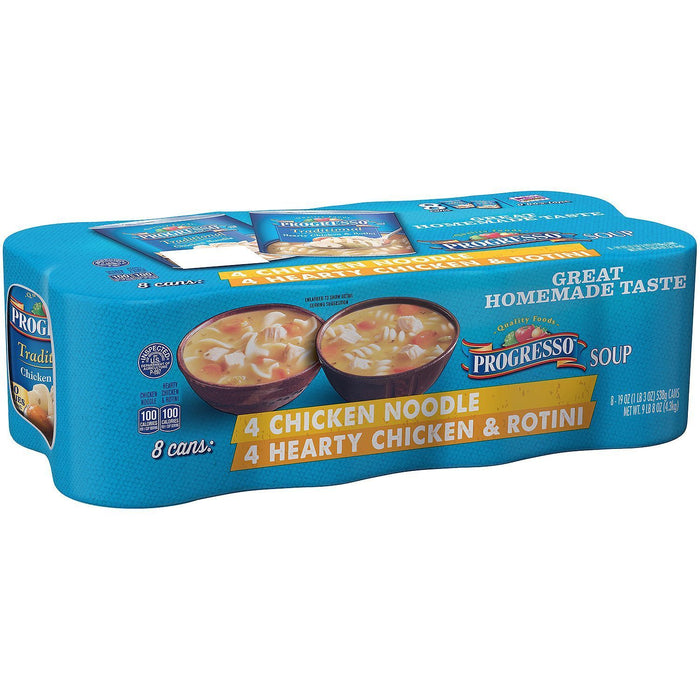 Chicken Noodle and Hearty Chicken and Rotini Soup, Progresso (19 oz., 8 pk.) - EZneeds