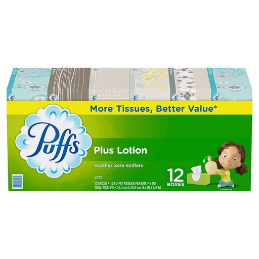 Puffs Plus with Lotion Facial Tissue (124 tissues, 12 pk.)