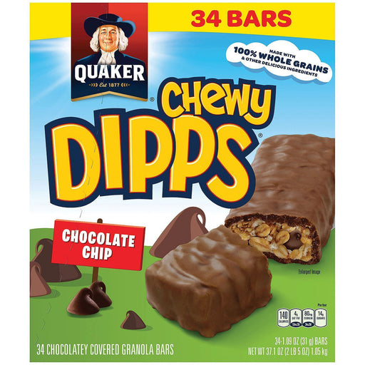 Quaker Chewy Dipps Granola Bars, Chocolate Chip (34 ct.)