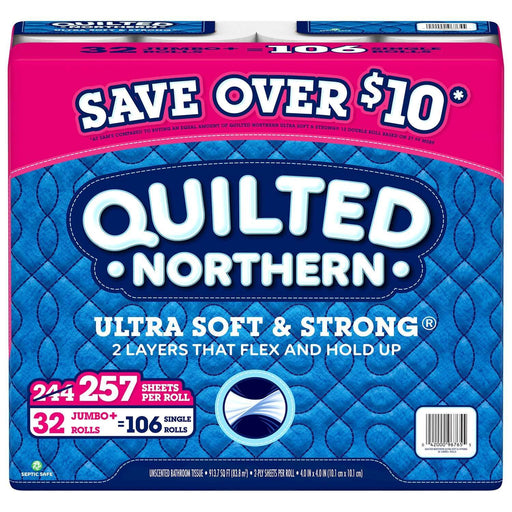 Quilted Northern Ultra Soft & Strong Toilet Paper (2-ply 257 sheets, 32 JUMBO rolls) - EZneeds