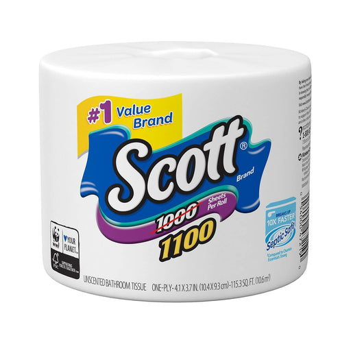 Scott 1100 Unscented Toilet Paper (1-ply 1100 sheets, 1 roll) - EZneeds