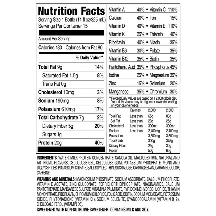 SlimFast Advanced Energy Caramel Latte High Protein Ready to Drink Meal Replacement Shakes (11 fl. oz., 15 pk.) Nutrition Facts - EZneeds
