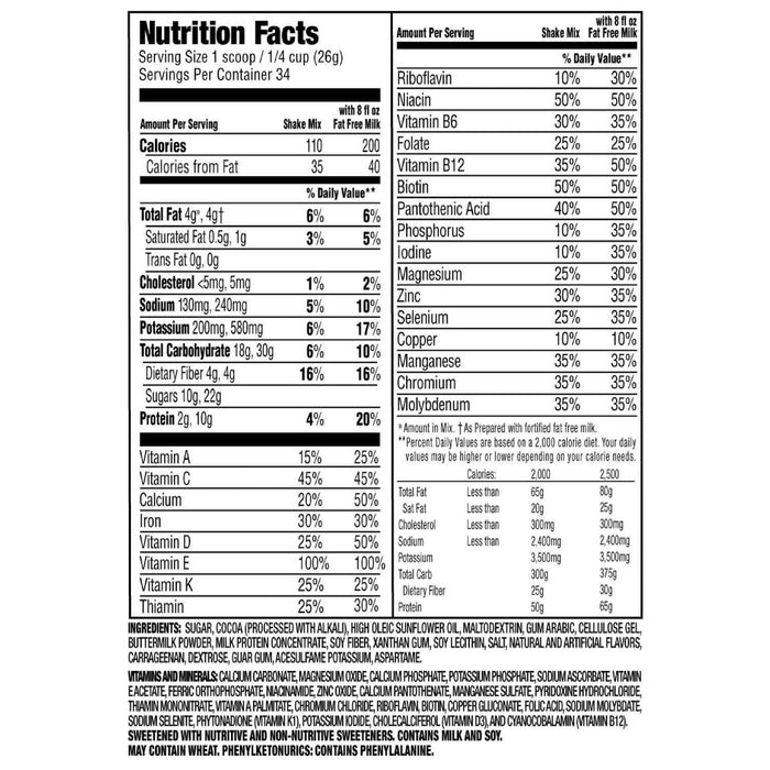 SlimFast! Chocolate Royale Shake Mix (31.18 oz.) Nutrition Facts - EZneeds