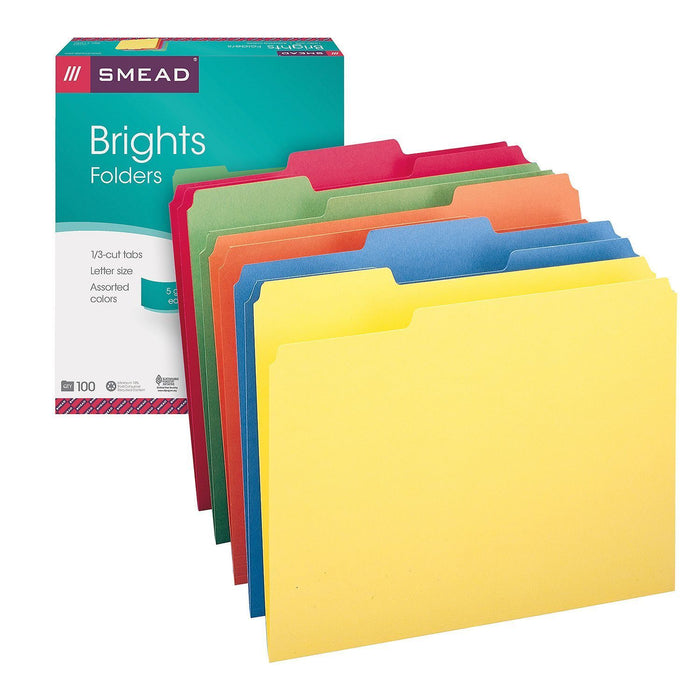 Smead 1/3 Cut Assorted Position Tab File Folders, Assorted Colors (Letter, 100 ct.)