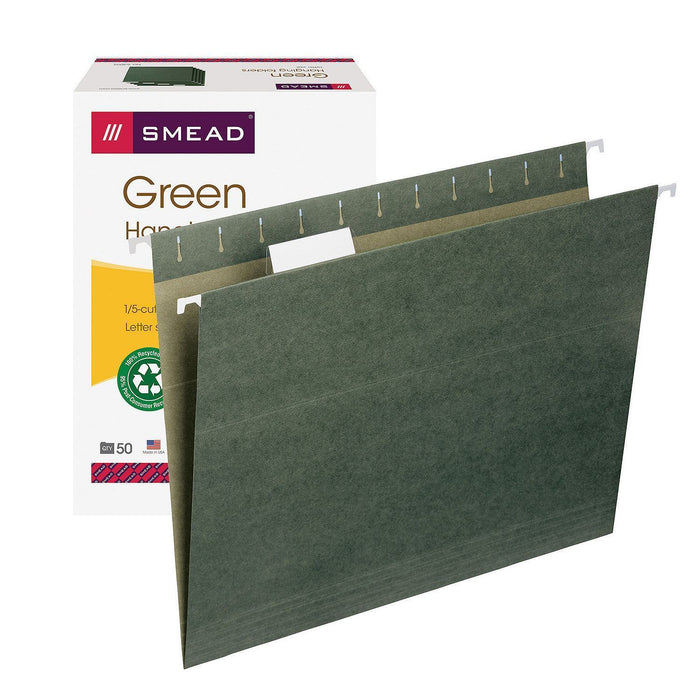 Smead 1/5 Cut Adjustable Positions Hanging File Folders, Standard Green (Letter, 50 ct.)