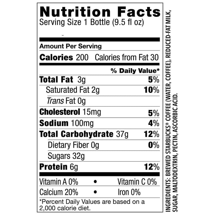 Starbucks Frappuccino Coffee Drink, Coffee (9.5 oz., 15 pk.) Nutrition Facts - EZneeds