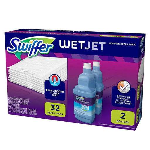 Swiffer Wetjet Mopping Refill Pack (32 Refill Pads + 2 Bottles of Cleaner 1.25L ea.)
