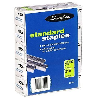 Swingline Standard Staples (5 Boxes of 5,000 Staples)