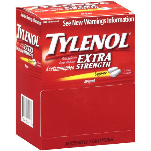 Tylenol Extra Strength Caplets (50 - 2 ct. Packets)