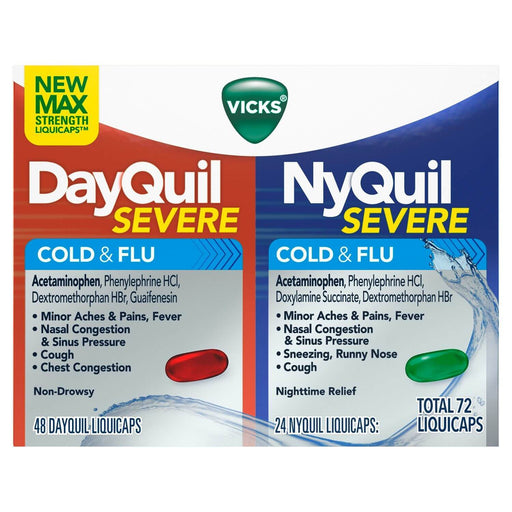 Vicks DayQuil and NyQuil Severe Cough, Cold & Flu Relief LiquiCaps Convenience Pack (72 ct.) - EZneeds