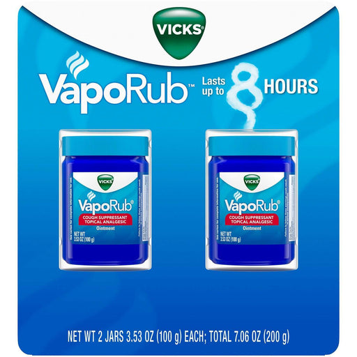 Vicks VapoRub Cough Suppressant Topical Analgesic Ointment Twin Pack (7.06 oz.) - EZneeds