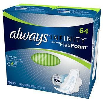 Always Infinity Size 2 Super Pads with Wings, Unscented (64 ct.) - EZneeds