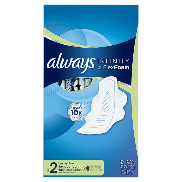 Always Infinity Size 2 Super Pads with Wings, Unscented (32 ct.) - EZneeds