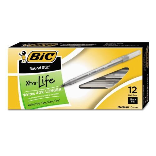 BIC Round Stic Xtra Life, Medium Point (Black, 12 ct.) - EZneeds