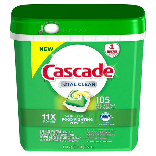 Cascade Total Clean Gel Dishwasher Detergent Pacs, Fresh Scent (105 ct.) - EZneeds