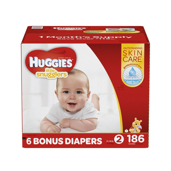 Huggies Little Snugglers Diapers (Size 2, 12-18 lbs., 186 ct.)